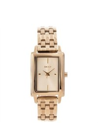 DKNY Rectangular Gold Tone Stainless Steel Watch