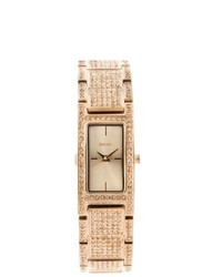 DKNY Rose Goldtone Rectangular Glitz Watch