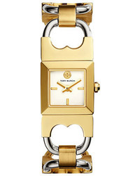 Tory Burch Double T Two Tone Link Bracelet Watch