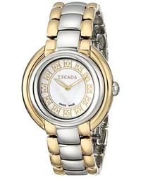Escada Iww E2435024 Ivory Stainless Steel Two Tone Watch With Link Bracelet
