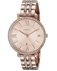 Fossil Es3546 Jacqueline Rose Gold Tone Stainless Steel Watch