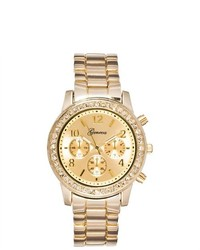 Geneva Rhinestone Accented Quartz Watch Gold