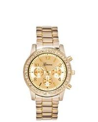 Geneva Rhinestone Accented Quartz Watch Gold