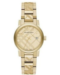 Burberry Goldtone Ip Stainless Steel Check Etched Bracelet Watch34mm