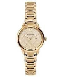 Burberry Goldtone Stainless Steel Check Etched Bracelet Watch