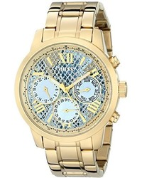 GUESS U0330l13 Stainless Steel Gold Tone Multi Function Watch With Ice Blue Python Print Day Date 24 Intl Time