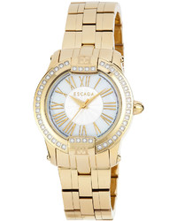 Escada Ion Gold Plated Madelene Three Hand Watch W Diamonds