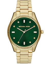 Michael Kors Michl Kors Mid Size Golden Stainless Steel Felicity Three Hand Glitz Watch