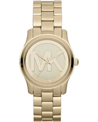 Michael Kors Michl Kors Mid Size Golden Stainless Steel Logo Three Hand Watch
