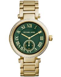 Michael Kors Michl Kors Mid Size Golden Stainless Steel Skylar Three Hand Glitz Watch
