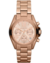 Michael Kors Michl Kors Mid Size Rose Golden Stainless Steel Bradshaw Chronograph Watch