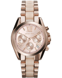 Michael Kors Michl Kors Mini Rose Goldenblush Stainless Steel Bradshaw Chronograph Watch