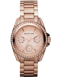 Michl kors mini size blair multi function glitz watch rose golden medium 362447