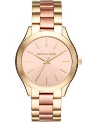 Michael Kors Michl Kors Mk3493 Slim Runway Gold Toned Stainless Steel Watch