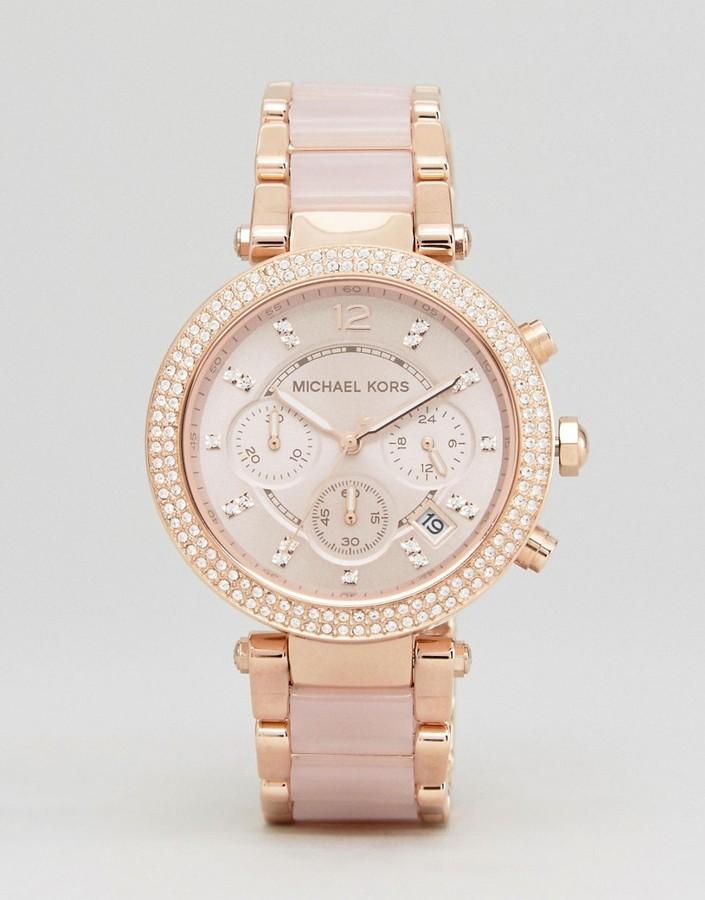 3e55ce2b4c3c ... Michael Kors Michl Kors Mk5896 Parker Chronograph Bracelet Watch In  Rose Gold ...