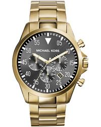 Michael Kors Michl Kors Oversize Golden Stainless Steel Gage Chronograph Watch