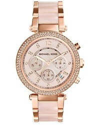 Michael Kors Michl Kors Parker Blush Acetate Link Chronograph Watch 39mm