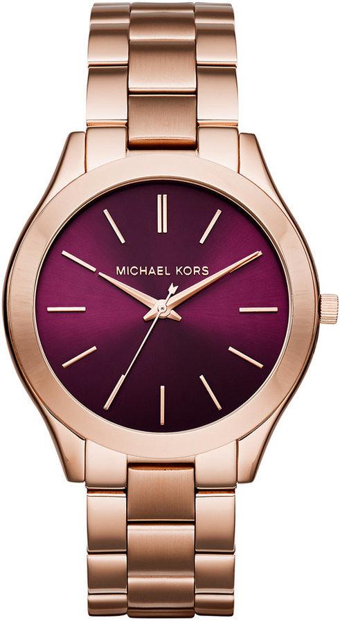 0bab68e26701 Michl Kors Slim Runway Rose Gold Tone Stainless Steel Bracelet Watch 42mm  Mk3436 Only At Macys