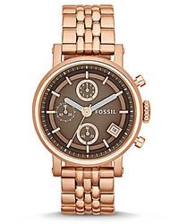 Fossil Original Boyfriend Rosegold Tone Espresso Dial Chronograph Watch
