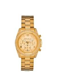 Republic Stainless Steel Glitz Chronograph Watch Gold