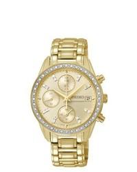 Seiko Chronograph Gold Diamond Watch