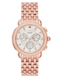 Michele Sidney 18 Chronograph Diamond Bracelet Watch