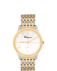 Salvatore Ferragamo Silver And Gold Ferragamo Slim Watch