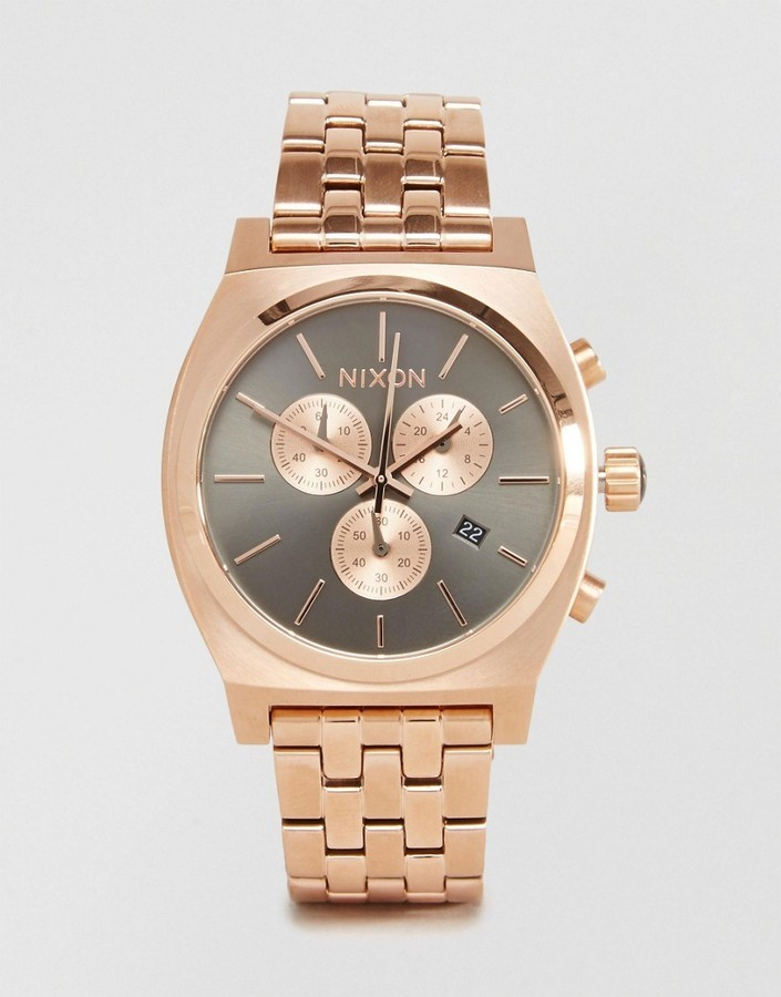 Nixon Time Teller Chronograph Watch In Rose Gold Where to buy
