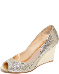 Badgley Mischka Awake Glitter Wedge Pumps