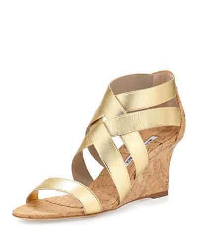 9e8af45b0113 ... Manolo Blahnik Glassa Strappy Cork Wedge Sandal Gold ...