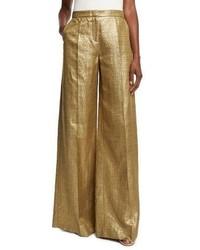 Gold Wide Leg Pants for Women | Women's Fashion