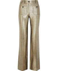 Roberto Cavalli Wool Blend Lam Flared Pants Gold