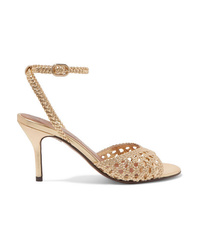 Gold Woven Leather Heeled Sandals