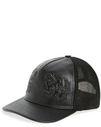 Gorra de Béisbol de Cuero Negra de Gucci