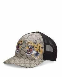 Gorra de béisbol estampada marrón claro de Gucci