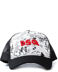 Gorra Inglesa Estampada Negra y Blanca de Dsquared2