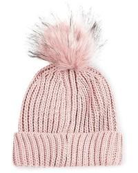 Gorro de pelo rosado de Topshop