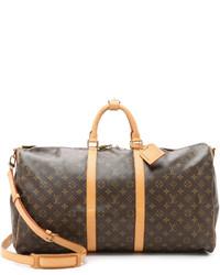 Grand sac en cuir imprimé brun foncé Louis Vuitton