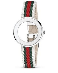 Gucci U Play Kits White Leather Bezel And White Nylon Watch Strap 27mm