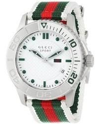 Gucci Ya126231 G Timeless Dive White Dial Nylon Strap Watch