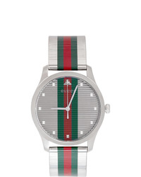 Gucci Silver G Timeless Web Watch