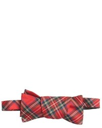 Countess Mara Red Silk Tartan Plaid Bow Tie