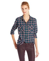 Boyfriend fit checked shirt with studded collar medium 178513