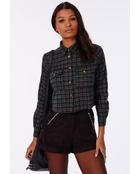 Missguided Teal Checked Cropped Shirt