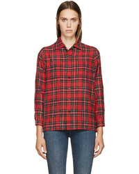 Red plaid wool shirt medium 403835