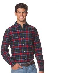 Classic fit tartan plaid oxford button down shirt medium 378656