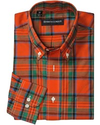 Kenneth Gordon Multi Plaid Sport Shirt Button Down Long Sleeve