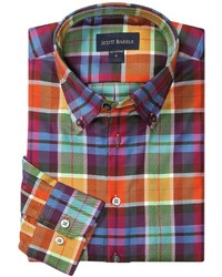 Modelcurrentbrandname Scott Barber James Fancy Plaid Sport Shirt Cotton Twill Long Sleeve