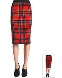 Green and Red Plaid Pencil Skirts for Women | Women's Fashion