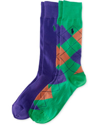 Polo Ralph Lauren Argyle And Solid Crew Socks 2 Pack